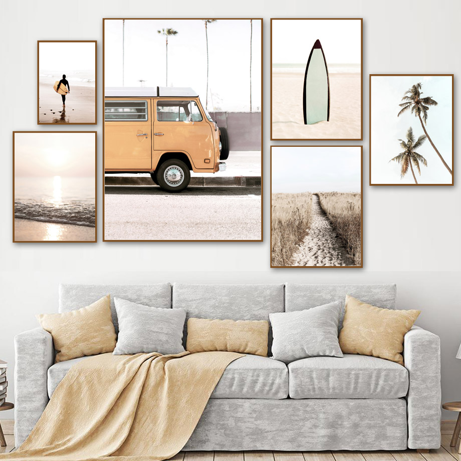 Orange Bus Beach Sea Coconut Tree Surfing Wall Art Canvas Painting Nordic Posters And Prints Wall Pictures For Living Room Decor