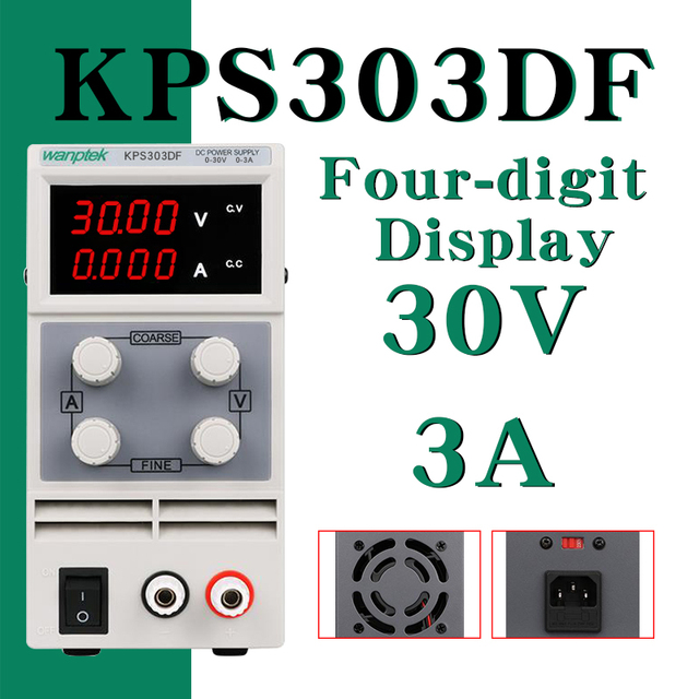 DC Power Supply KPS303DF Variable 30V 3A Adjustable Switching Regulated Power Supply Digital with Alligator Leads lab Equipment