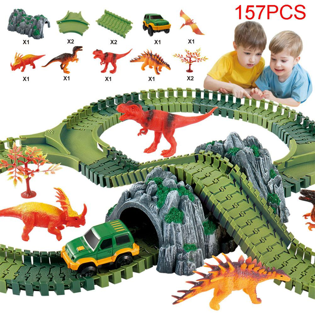 2018 New Magical track Set DIY Flex Racing track funny Dinosaur Jurassic Park track Creative Gift Educational toys for children three tier diy assembled flexible track kids creative magic toys electric railcar baby children s funny puzzle model viaduct suv
