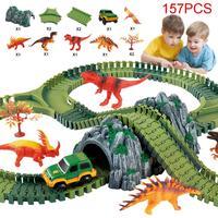 None Magical track Set DIY Flex Racing track funny Dinosaur Jurassic Park Creative Gift Educational toys for children D30