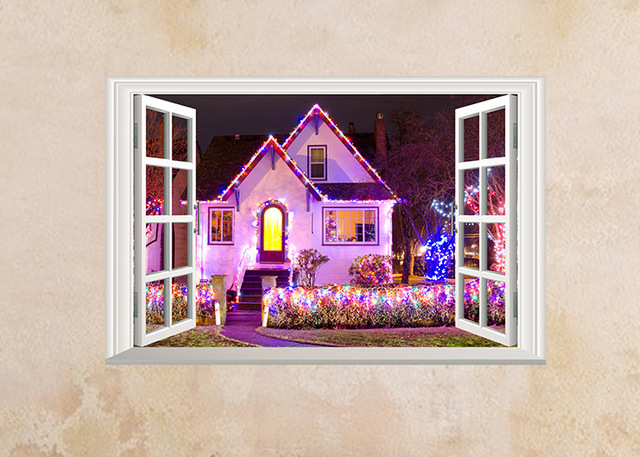 Window Decals Wall Stickers Home Decor Christmas Decorating Location Landscape View Art Wallpaper Mural Poter