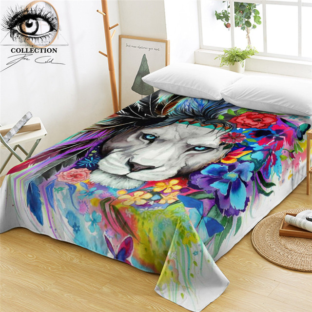Aliexpress.com : Buy Lion by Pixie Cold Art Bed Sheets Tribal Animal ...