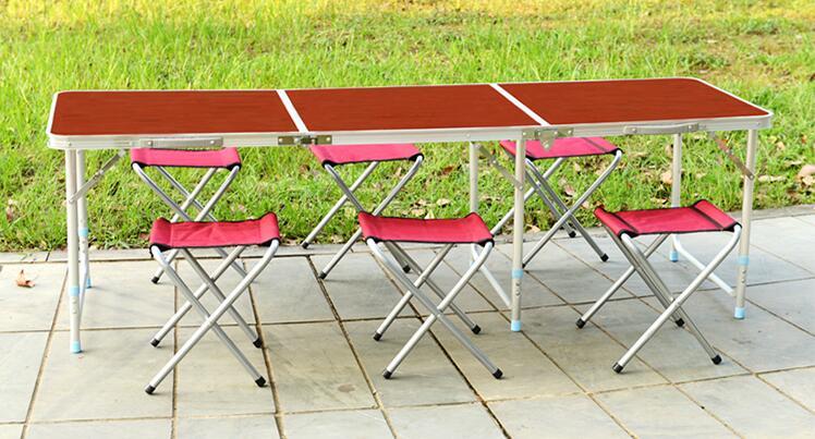 180*60*70 CM En Alliage D'aluminium Table Pliante Portable Extérieure Barbecue de Table Barbecue Table De Camping Pique-Nique En Plein Air de Bureau Avec 6 pièces Tabourets