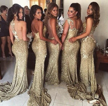 Champagne 2017 Mermaid Sweetheart Sequins Sparkle Backless Long Bridesmaid Dresses Cheap Under 50 Wedding Party Dresses
