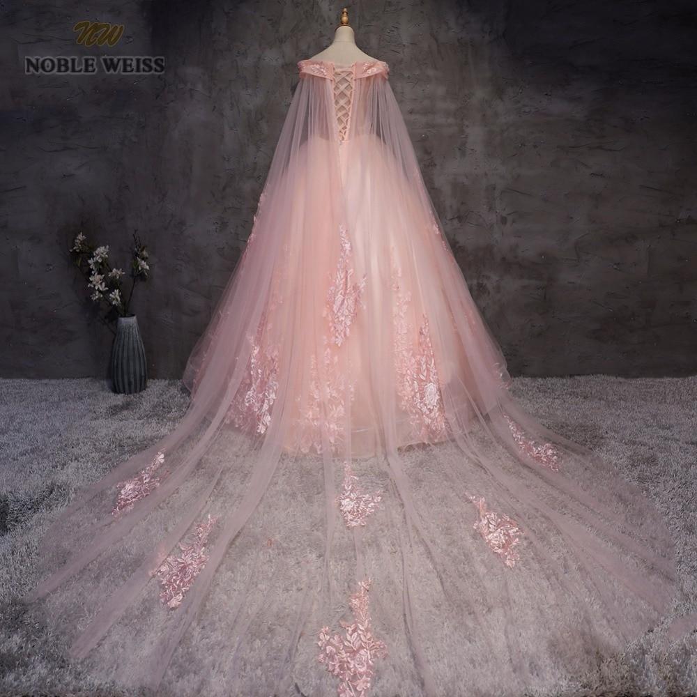 NOBLE WEISS robe de bal Quinceanera robes de haute qualité Appliques perles longueur plancher rose Tulle Sexy formelle robe de bal - 2