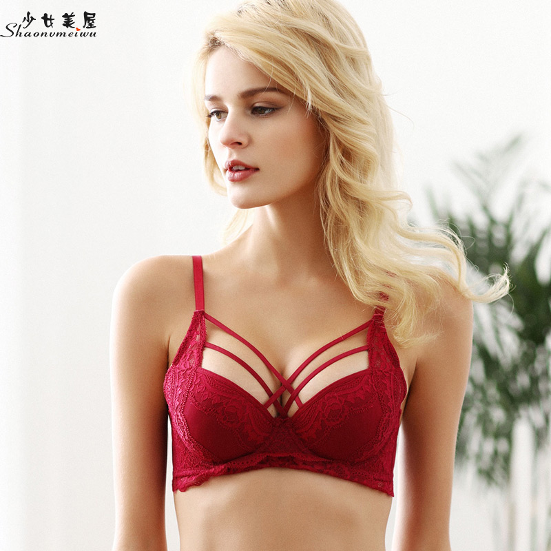 shaonvmeiwu Sexy ties bra top thin bottom thick cup small chest gather red benmingnian underwear