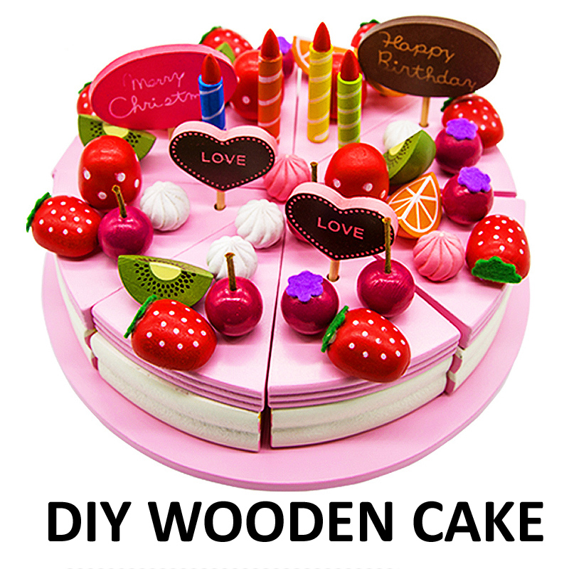 Baby kids diy wood birthday cake set strawberry fruit for Kitchen set cake