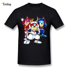 Funny Game Round Collar Man Samurai Pizza Cats T Shirt Retro Style Tees