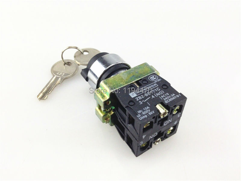 1pcs/Lot XB2 BG33 XB2-BG33 3 Position 2 NO Normally Open 2N/O Key Operated Selector Switch Locked Maintained p87 rotary switch knob 22mm 2 position self locking latching switch 1 no maintained select selector xb2 bd21c xb2 bd21 bd41c