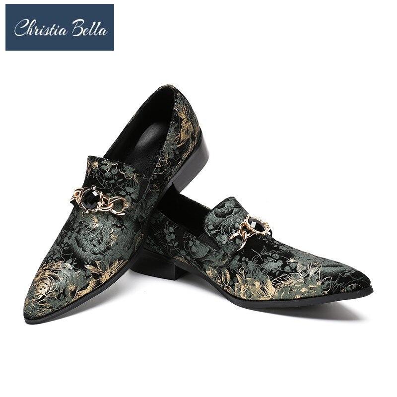 Christia Bella fait main hommes pleine cuir chaussures Floral fête/désherbage et Banquet hommes robe chaussures hommes chaîne chaussures grande taille 38-47