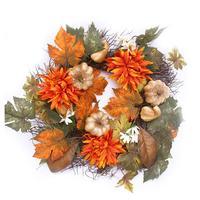 Autumn Maple Leaf Pumpkin Berry Wreath Thanksgiving Halloween Door Home Decor