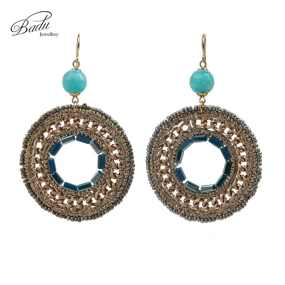 Badu Handmade Women Round Circle Pendant Drop & Dangle Natural Stone Hook Earring Jewelry for Christmas Black Friday Party