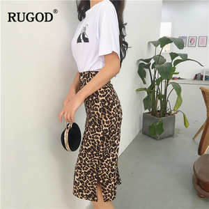 Image 3 - RUGOD Korean Sexy Leopard Print Long Skirt Women 2020 Autumn Fashion High Elastic Waist Pencil Skirt Snake Print Skirt for Lady
