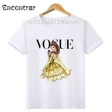 Kids VOGUE Princess Print O-Neck Tops T Shirt Tees Summer Style Children T-Shirt Boy and Girl funny Clothing,HKP3080