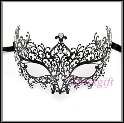 Удивительные маски венецианских маскарадов качества венецианские черные винтажные серебряные блестящие металлический лазерный разрез Вечерние Маски драгоценные камни - Цвет: BK metal clear gems