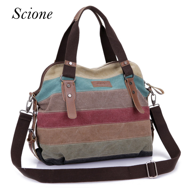 Famous Brand Women Patchwork Handbags Canvas Shoulder Messenger Bags Casual Beach School Travel Ping Tote Pouch