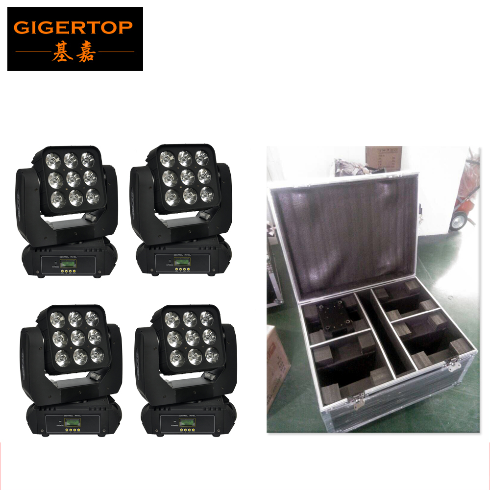 Flight Case 4in1 Pack 9X10W RGBW 4IN1 9 Head Led Beam Moving Wash Light Audience Background Washer Light Auto/Sound active/DMX