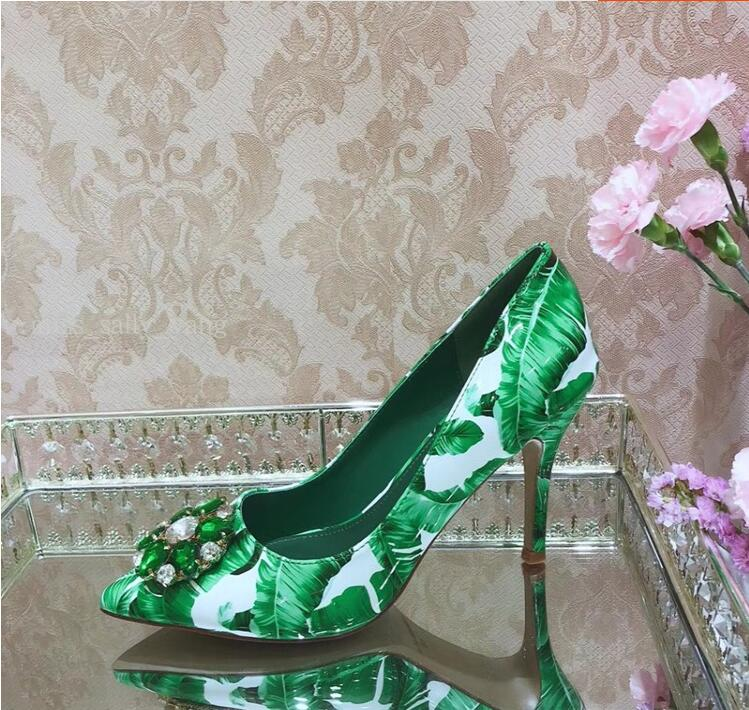 Sexy Print Green Banana Leaf Slingback Pumps Bling Crystal Flower Pointed Toe Women Shoes High Heels Wedding Shoes Bride in Women 39 s Pumps from Shoes