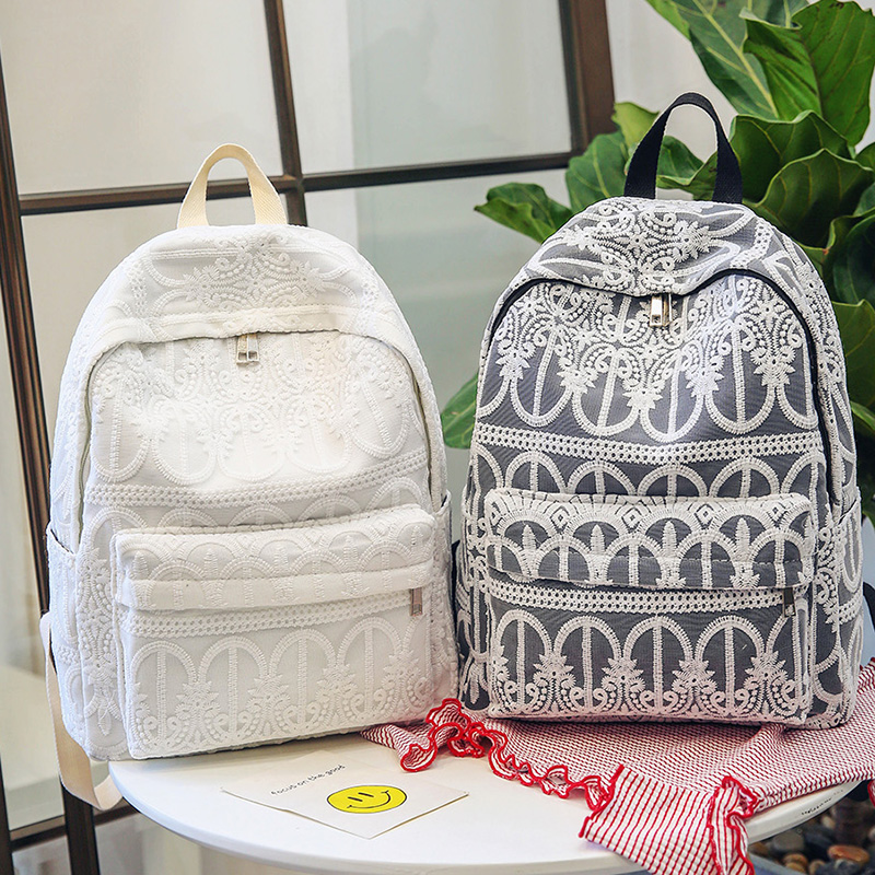 2017 Canvas Backpack Women Lace Backpacks Summer Travel Bags School Book Bags Preppy Style Backpack For Teens Laptop Bag rugtas 13 laptop backpack bag school travel national style waterproof canvas computer backpacks bags unique 13 15 women retro bags