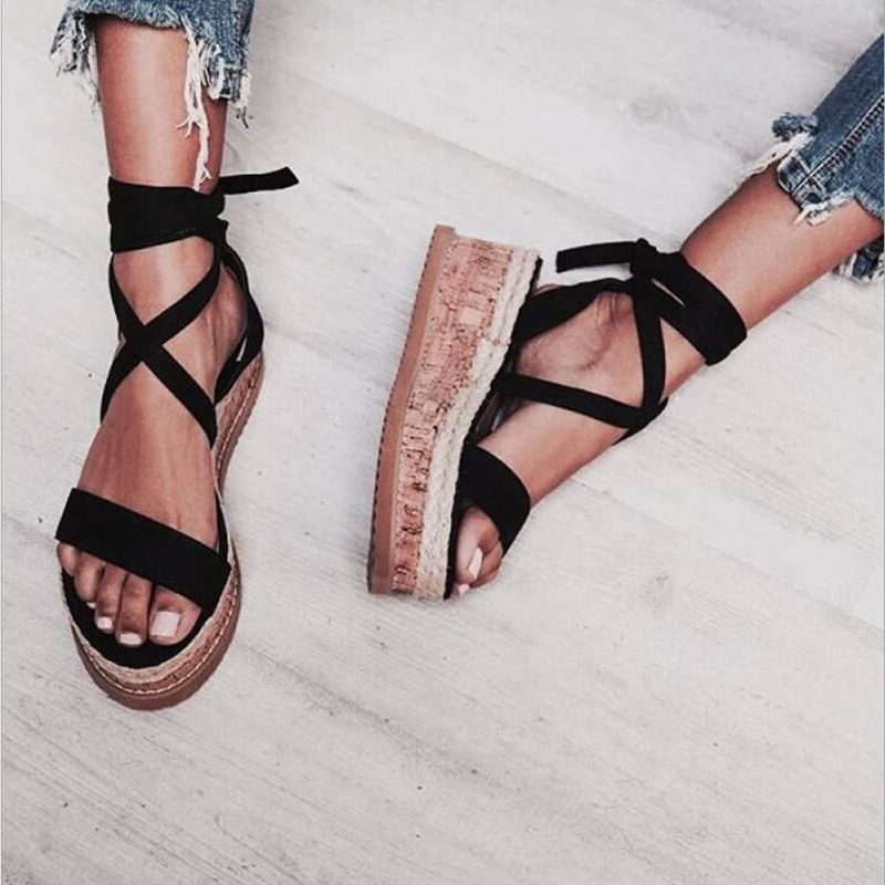 044a85c3055cf5 COSIDRAM Fashion Women Sandals Summer Comfortable Wedge Heels Platform  Shoes Female Ladies Beach Shoes Plus Size 42 43 SNE 115-in Middle Heels  from Shoes on ...