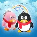 QQ Pingüino LLEVÓ el sonido y la luz Llavero linterna muñeca creativa Coche llaveros Llavero paquete de teléfono móvil pequeño Colgante de regalo