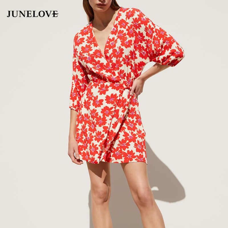 156a443d17690 JuneLove Women Summer Print Floral Mini Dress Vintage Lace Up Female ...