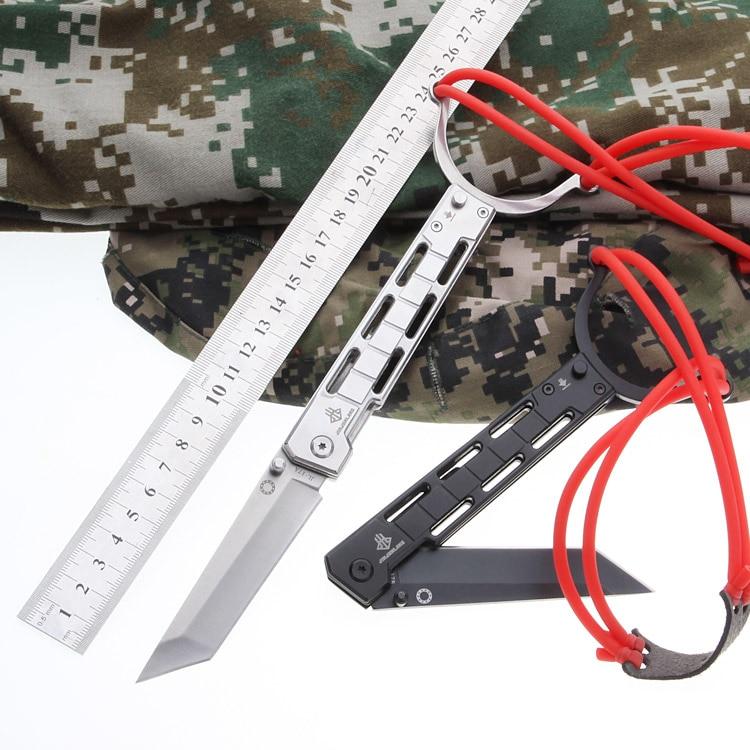 Al aire libre de múltiples funciones del cuchillo de bolsillo herramienta Slingshot táctica extraño Slingshot cuchillo combinación herramientas de salvamento y socorrismo