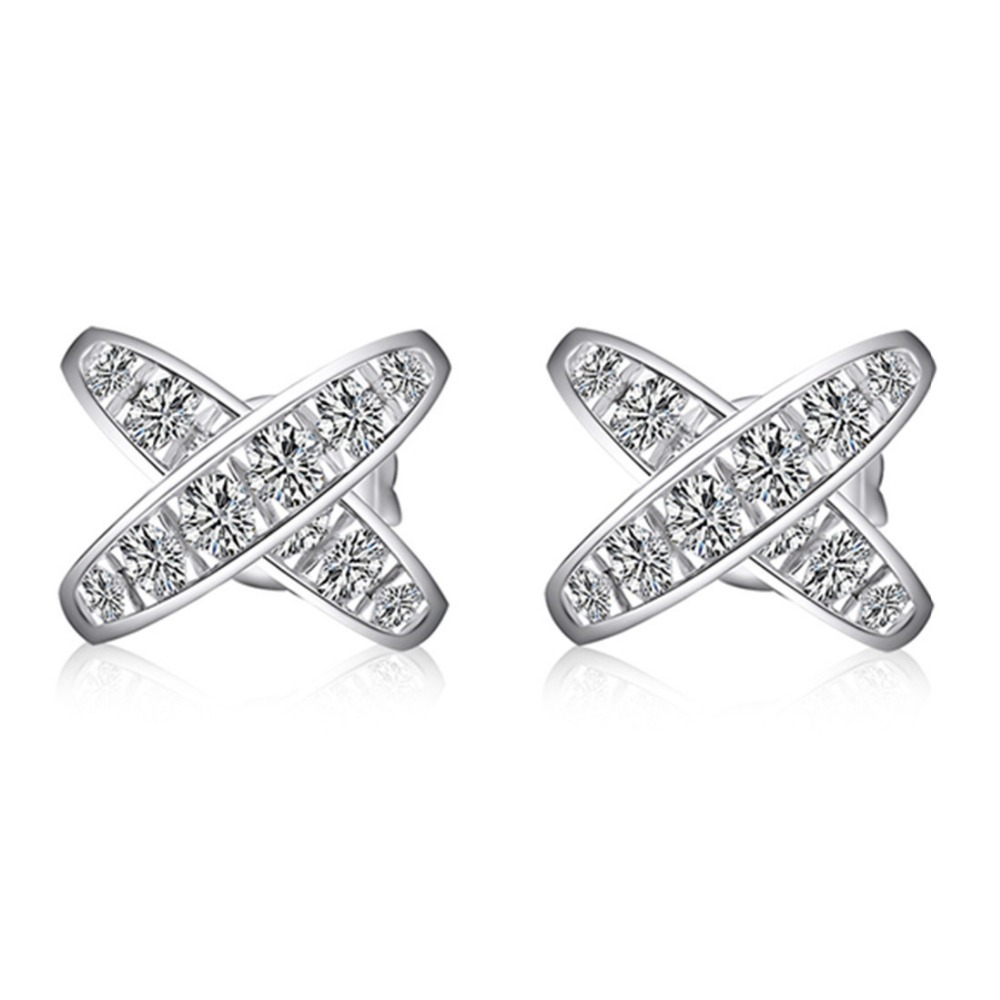 X Love Sterling Silver 925 Earrings Brand Synthetic Diamonds Stud Earrings  Beauty White Gold Color Jewelry