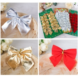 12pcs/lot cute bow Christmas decorations Christmas tree ornaments holiday family party bow decoration decorated New Year 2