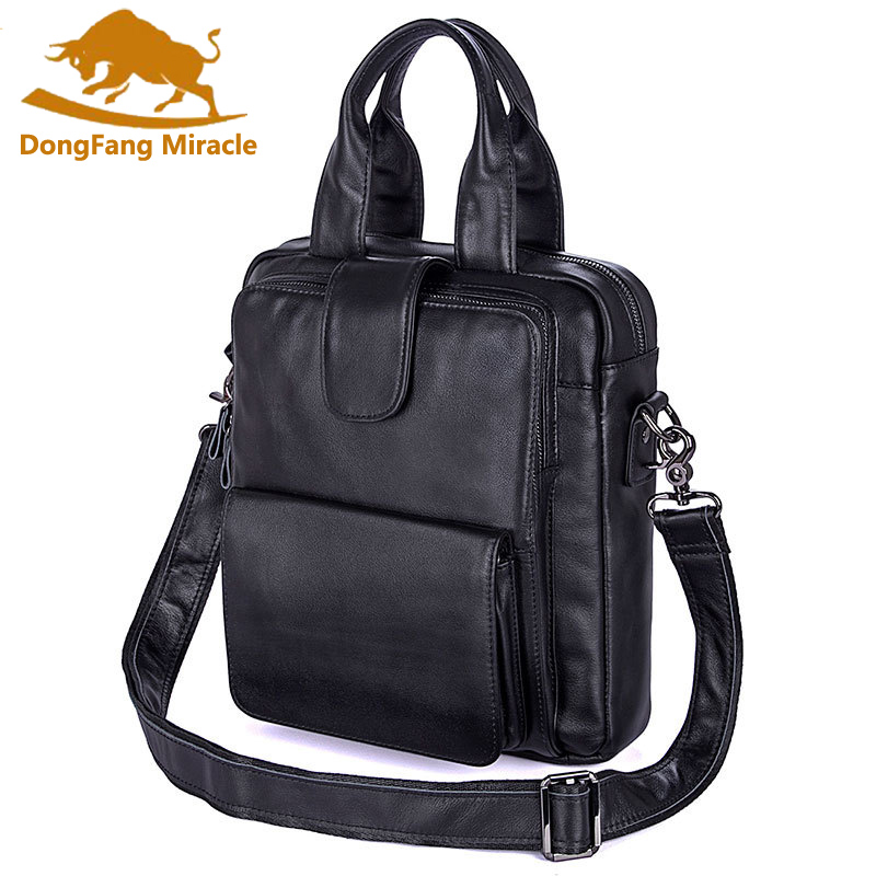 DongFang Miracle New Arrival 100% Genuine Leather Messenger Bag Casual Men Shoulder Bag Laptop Briefcase Handbag Totes dongfang miracle high quality genuine leather men messenger bags casual shoulder bag male multifuntional small bag
