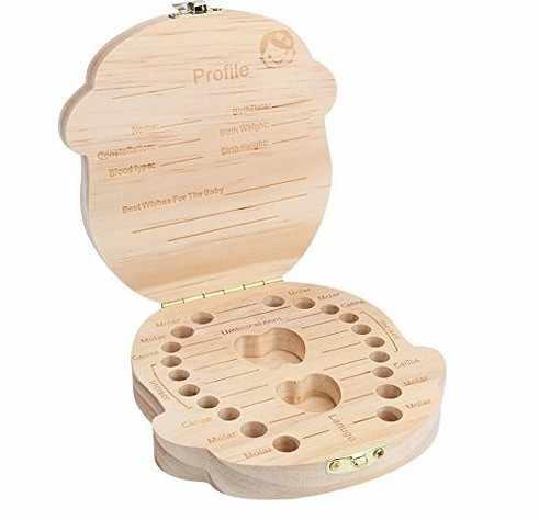 Inglês Bebê WoodenTooth Caixa de caixa de Armazenamento caixa de armazenamento para as crianças Unisex Lanugo Salvar coleção Bebê Crescer-up Lembrança de Folha Caduca