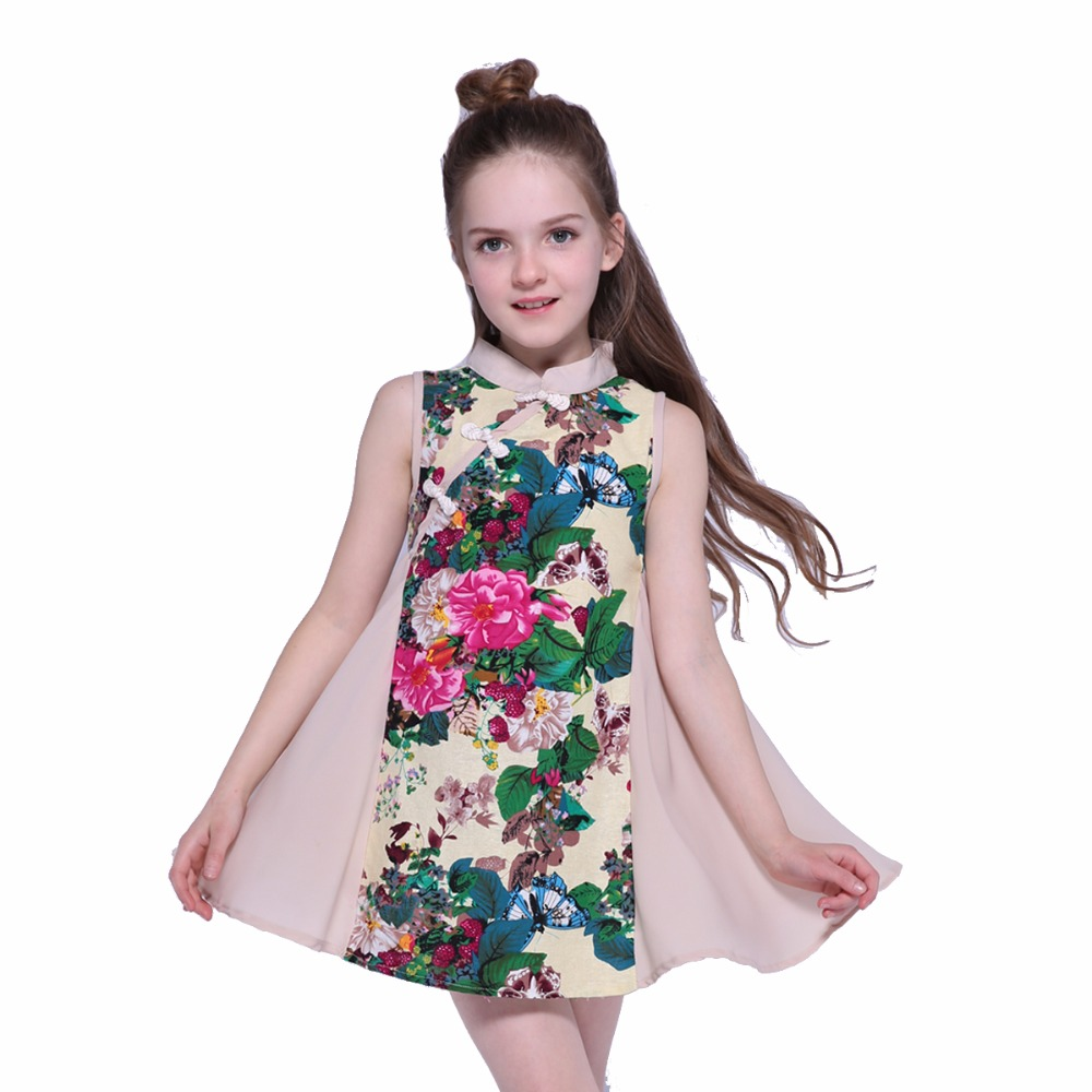 Cheongsam Mesh <font><b>Dresses</b></font> <font><b>for</b></font> <font><b>Girls</b></font> <font><b>Summer</b></font> Print Mini A-Line Children Party <font><b>Dresses</b></font> 2 8 <font><b>12</b></font> <font><b>Year</b></font>-<font><b>Old</b></font> Voile Sleeveless Infant Vestdio image