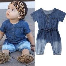 Для детей ясельного возраста детская одежда для девочек одежда Круглый воротник с короткими рукавами комбинезон на кнопках из хлопка летняя одежда для новорожденных в виде геометрических фигур комбинезон, одна деталь