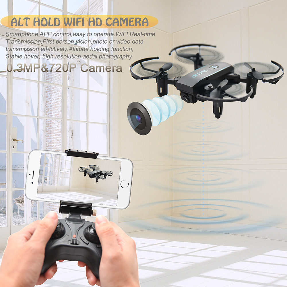 New Arrival IN1601 2.4G 720P 0.3MP Wifi FPV Foldable Mini Drone With Camera Altitude Hold RC Drone Quadcopter Selfie Drone Gifts (2)