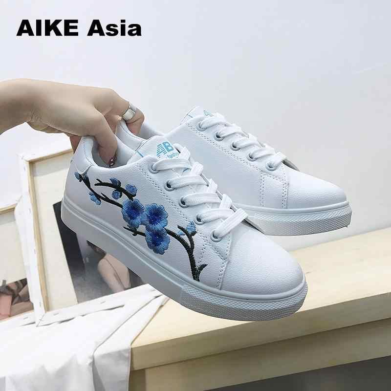 Aike Asya Yaz Kadın Sneakers Moda Breathble Vulkanize Ayakkabı Pu deri Platformu Dantel kadar Rahat Beyaz işlemeli