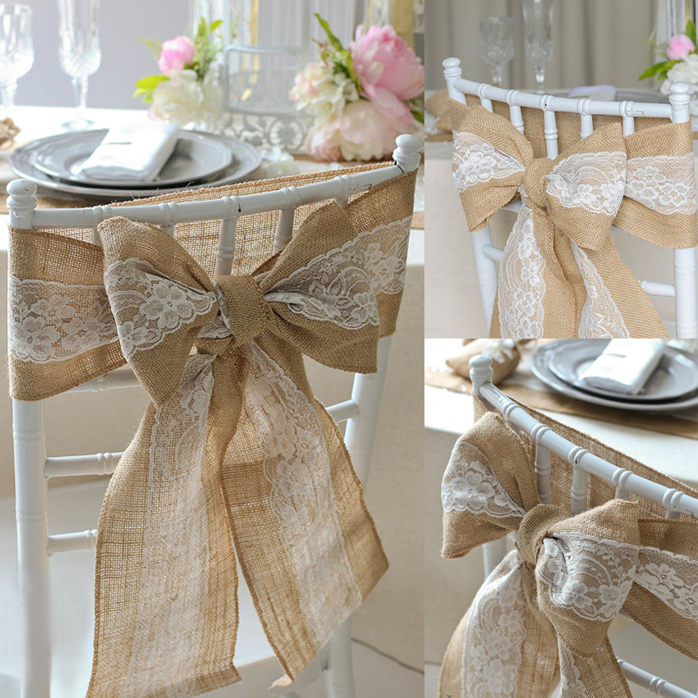 100pcspack Burlap Chair Sash With Lace 6x94 Stitched Edge Shabby