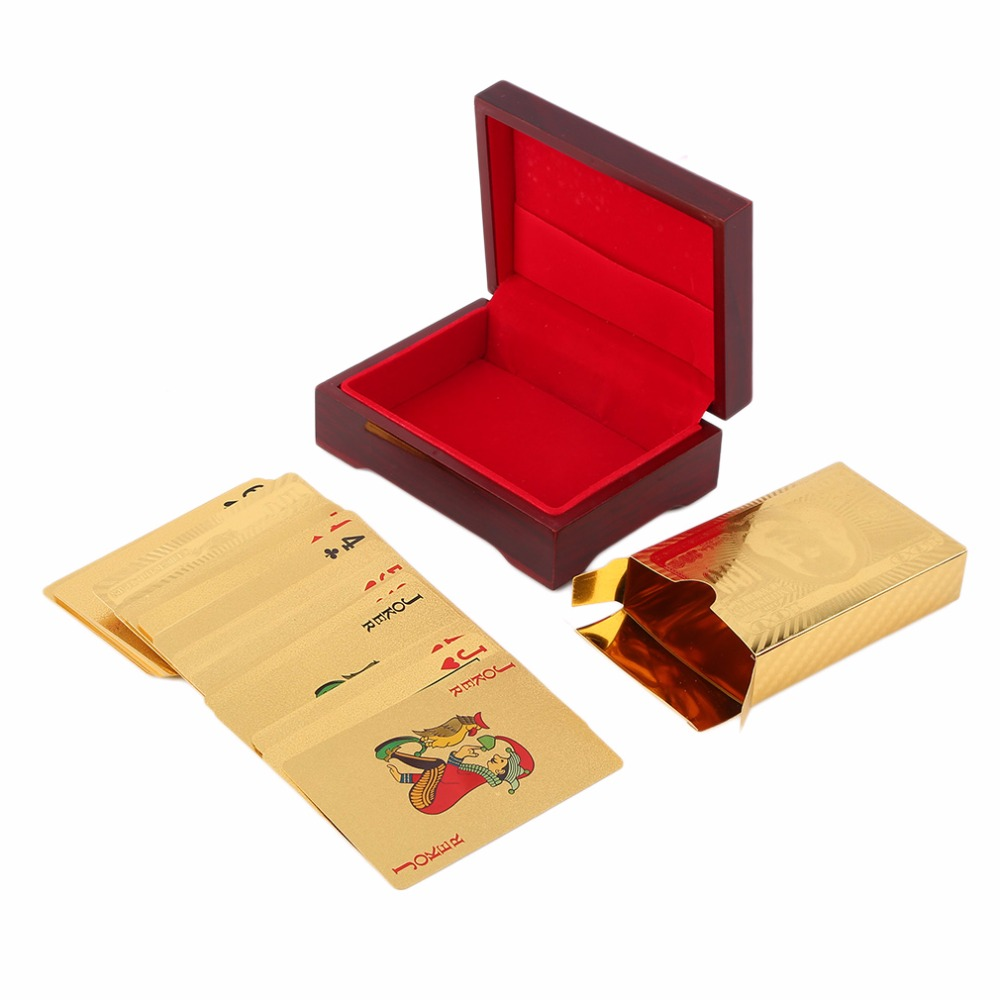 OUTAD Euro Pattern Playing Cards 24k Gold Plated Full Poker Deck Pure With Box Christmas Gift