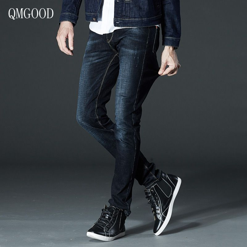QMGOOD Men's Jeans Size 44 2017 New Summer Fashion Jeans Men Straight Stretch Leisure Large Size High Quality Denim Trousers 40