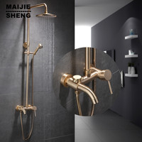 Luxury gold brush shower set bathroom wall gold shower brush gold shower mixer hot and cold bathtub shower faucet