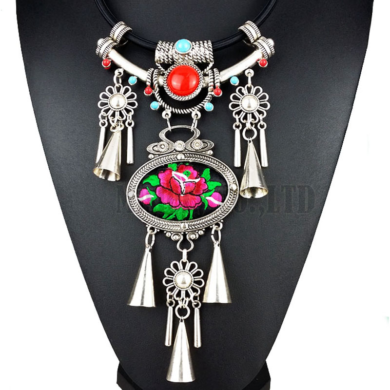 Bohemian Ethnic Embroidery Embroidered Big Flower Charm Choker Statement Necklace Indian Jewelry Jewellery For Women