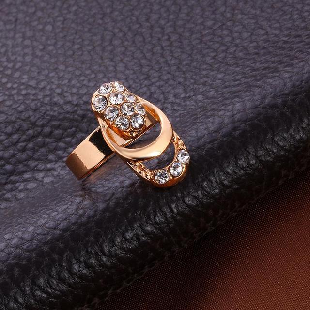 Rose Gold Color Crystal Necklace Earring Bracelet Ring Set 4