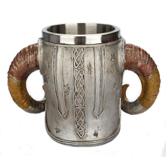 Stainless Steel Skull Mug Viking Ram Horned Pit Lord Warrior Beer Stein Tankard Coffee Mug Tea Cup Halloween Bar Drinkware Gift 5