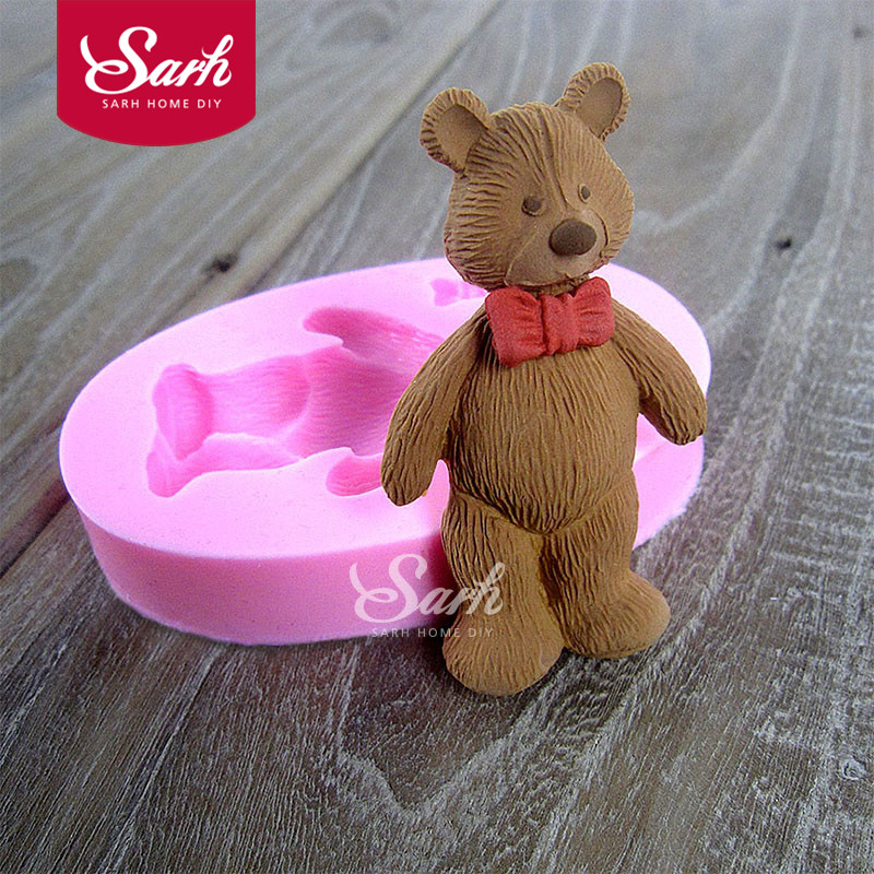 Tie Bear Lovely Cartoon Djur Fondant Cake Moulds Choklad Mögel För Köket Bakverk Sugarcraft Decoration Tool M1104