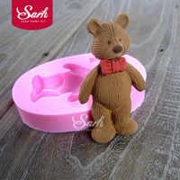 Tie Bear encantadores animales de dibujos animados Fondant pastel moldes Chocolate molde para la cocina hornear herramienta de decoración sugarcraft M1104