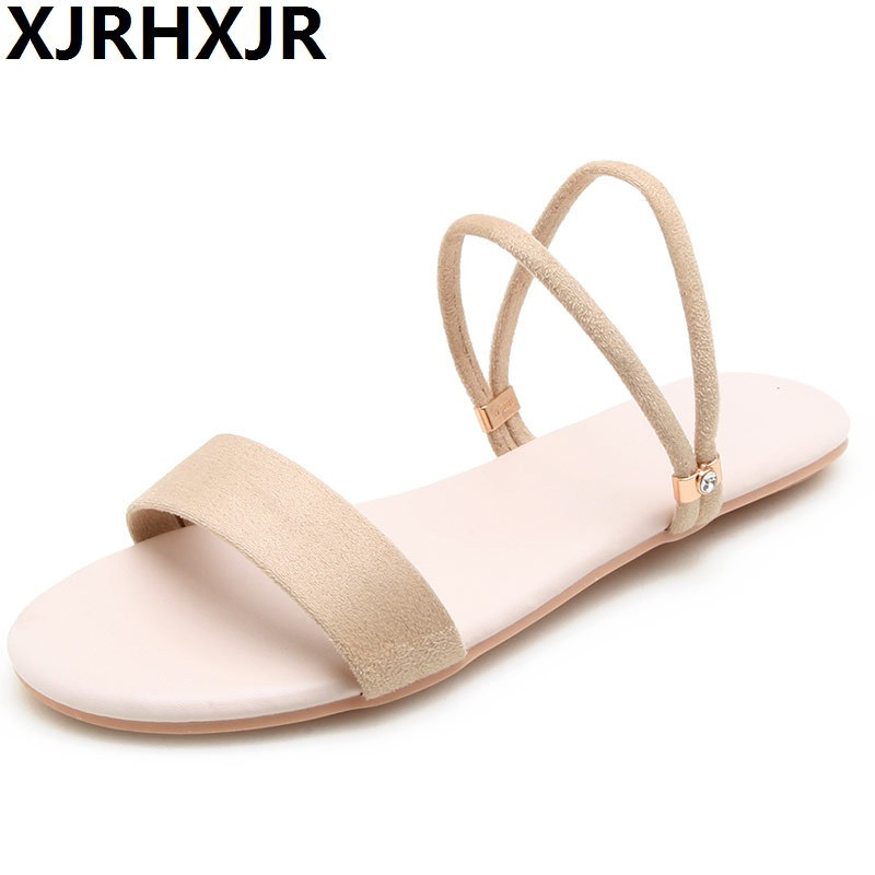 XJRHXJR 2018 New Flat Women Sandals Girl's Slippers Summer Beach Shoes Woman Low Heel Ladies Sandals Large Size 32-43 Pink xiuningyan horsehair sandals women flat heel sandals fashion summer low heel shoes woman sandals summer plus size free shipping