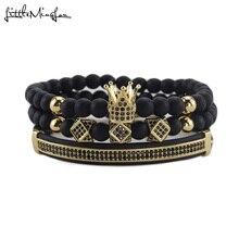 3pcs/Set Luxury men Crown Bracelets zircon polygon crown Charm handmade bracelets & bangles for Men Jewelry husband gift