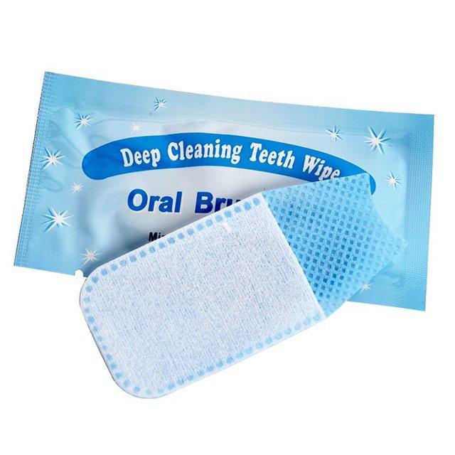 50 piezas recomendar Natural limpiar Oral cepillo a dedo profundo toallitas de limpieza Dental higiene Oral dientes blanqueamiento de dientes