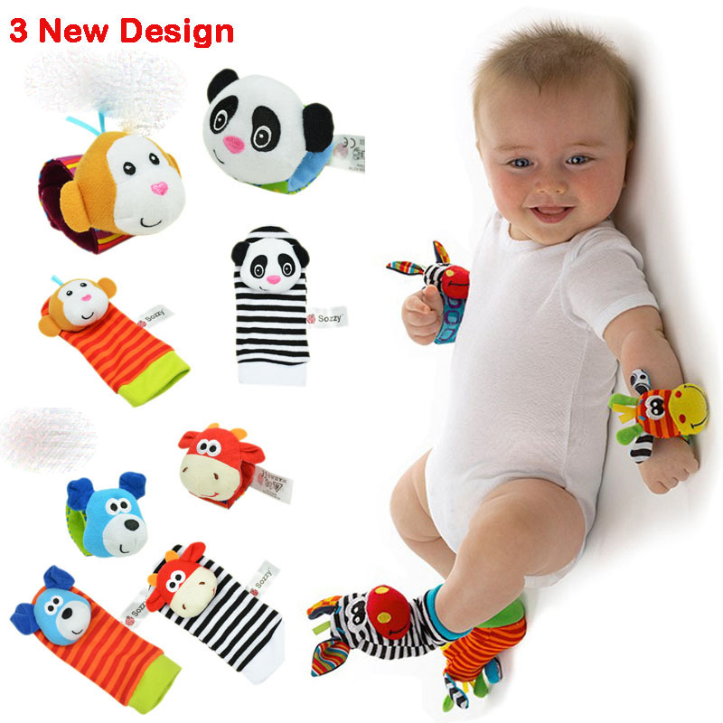 4PCS / LOT Barn pojkar Flickor Toy Baby Rattle Wrist Foot Strumpa Nyfödd Baby Plush Sock (YYT121-YYT123)