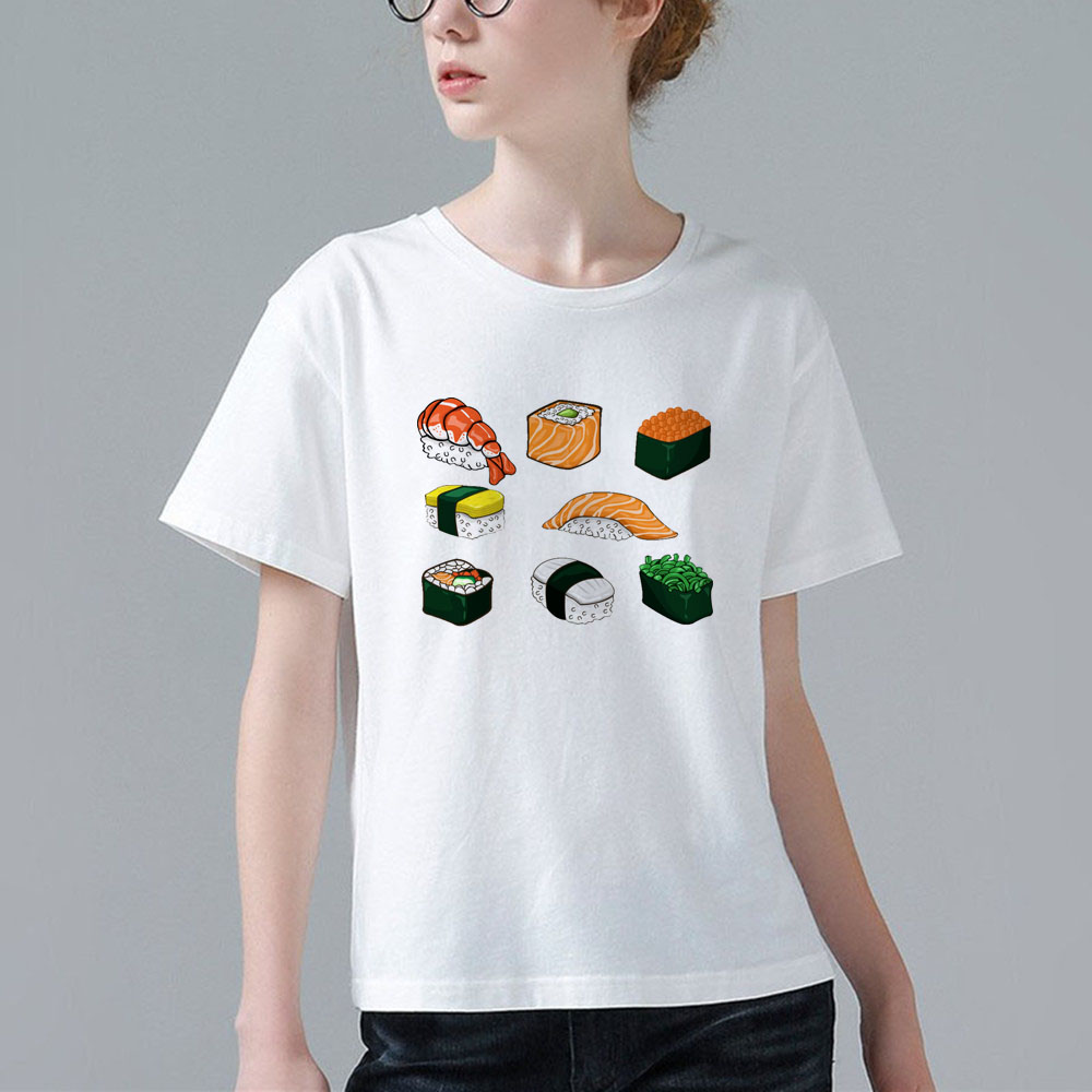 T shirt japanese design - Summer Women T Shirts Casual Funny Cartoon Anime Japanese Sushi Fusion Design Print T Shirt