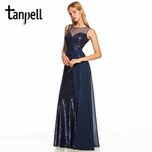 Tanpell sequins evening dress dark royal blue sleeveless a line floor length dresses women scoop formal prom long gown